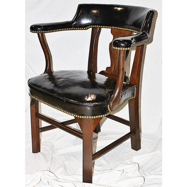 Leather Lyre-Back Lawyer Chairs - Pair - Image 6 of 9