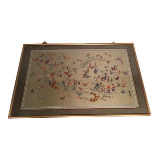Antique Chinese Butterfly Garden Framed Embroidery