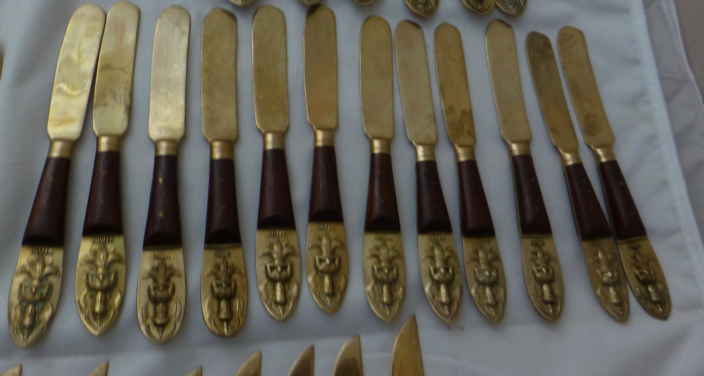 Brass and Rosewood Buddha Flatware Set~ Service for 6+ Extras | Chairish