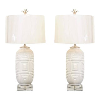 Remarkable Pair of Large-Scale Geometric Ceramic Lamps