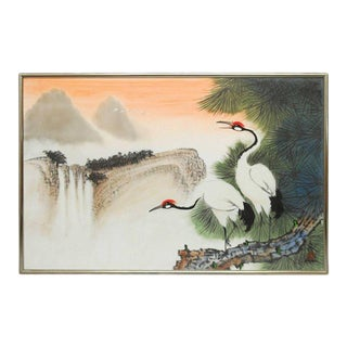 Two Cranes Original Watercolor on Silk by Poon Tai To