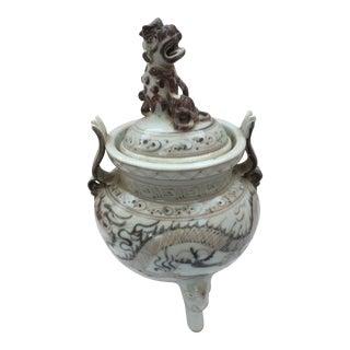 Chinese Dragon Vase W/ Foo Dog Lid