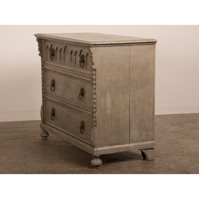 Antique English Tall Painted Three Drawer Chest circa 1850 - Image 5 of 11