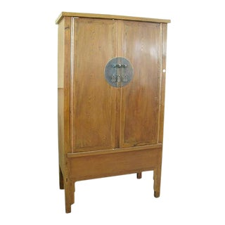 1890s Natural Elmwood Armoire
