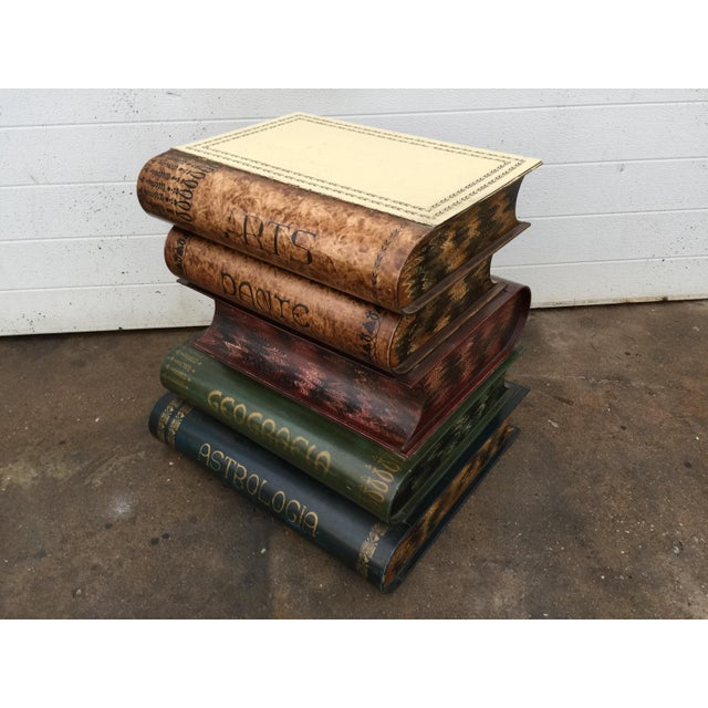 Italian Metal Tole Painted Book Stack Table - Image 3 of 9