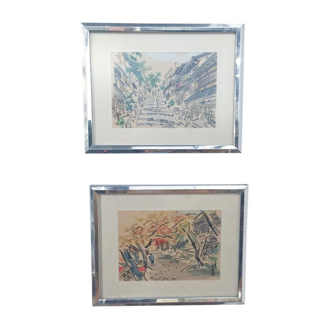 Mid Century Asian Framed Silk Prints - Pair - Image 1 of 8