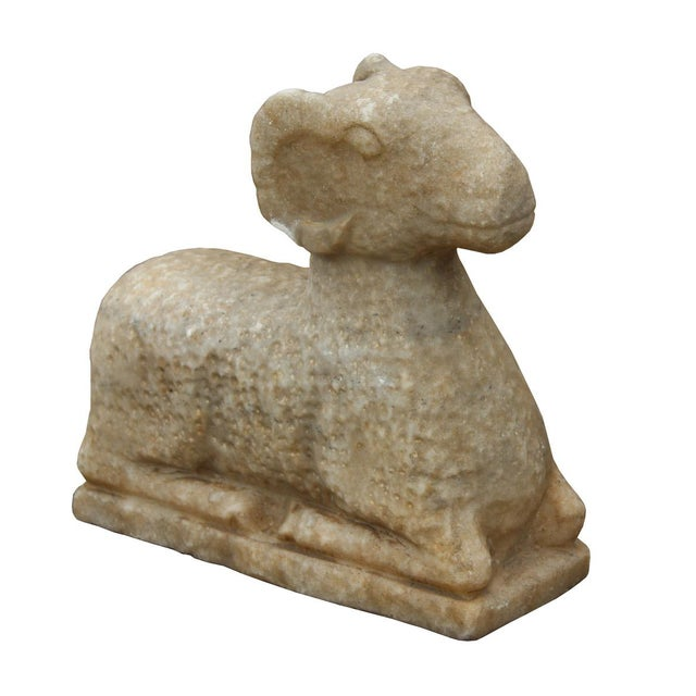 Chinese Vintage Crouching Ram Stone Statue - Image 4 of 6