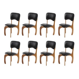 Eight Don Shoemaker Cocobolo and Leather Dining Chairs