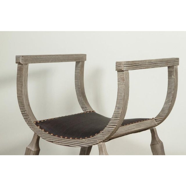 Customizable Paul Marra Distressed Fir Bench in Brown Horsehair - Image 3 of 7