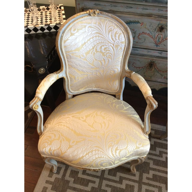 Louis XV Painted & Parcel Gilt Fauteuils - Pair - Image 2 of 5
