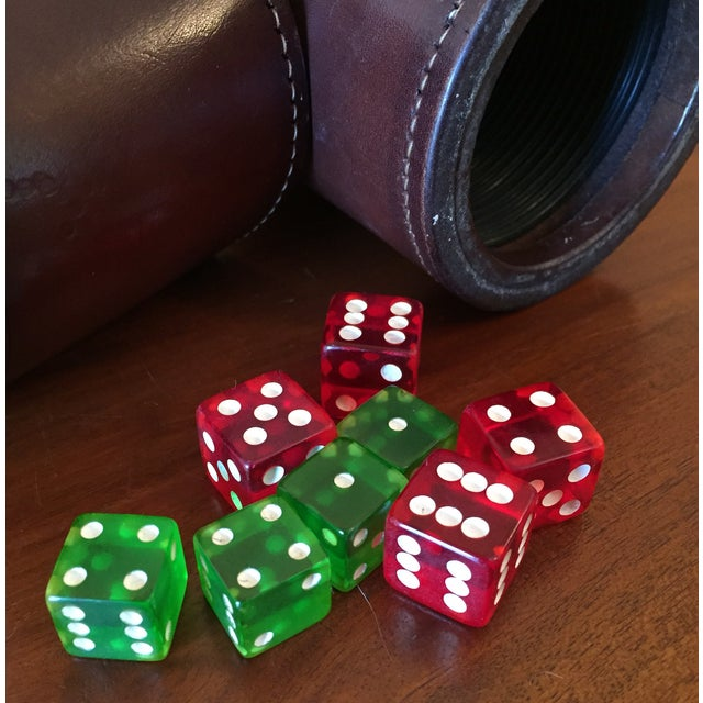 Leather Dice Cups with 8 Bakelite Dice - A Pair - Image 3 of 7