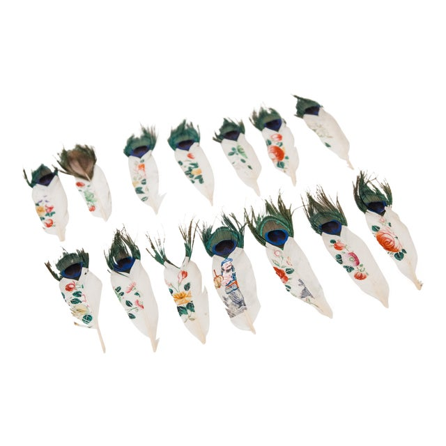 Painted Peacock Feathers - Set of 14 - Image 1 of 8