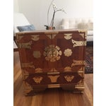 Image of VintageAsian Wood & Brass Nightstand