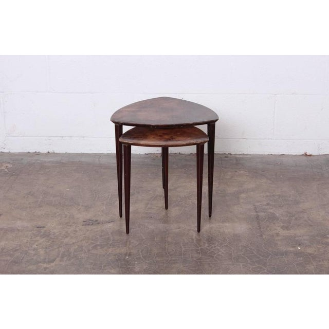 Pair of Goatskin Nesting Tables by Aldo Tura - Image 2 of 10