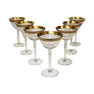 Etched & Gilt Champagne Stems - Set of 7