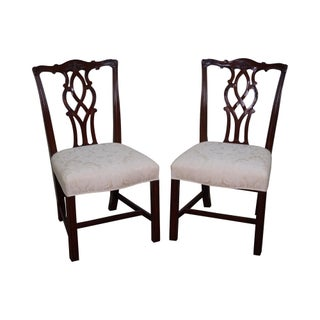Kindel Solid Mahogany Chippendale Dining Chairs - A Pair