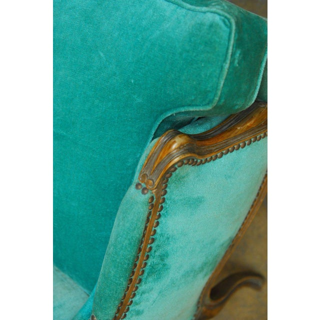Louis XV Turquoise Velvet Wingback Chairs - Image 5 of 7