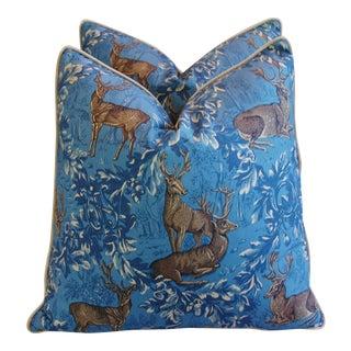 English Woodland Deer & Velvet Pillows - a Pair