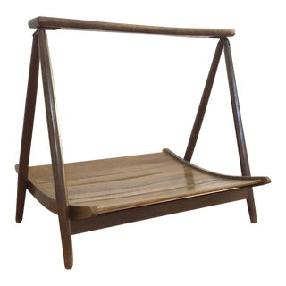 Mid-Century Wooden Magazine Rack Basket