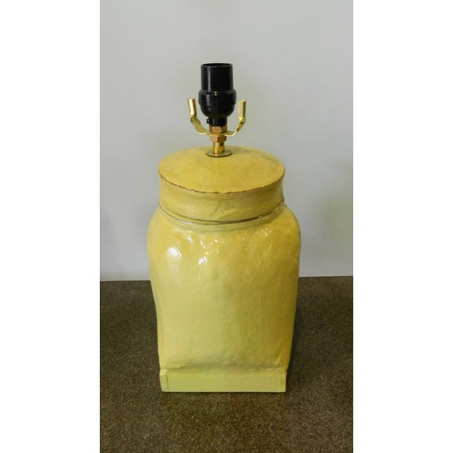 Paper mache yellow lamp chairish for How to make paper mache lamps