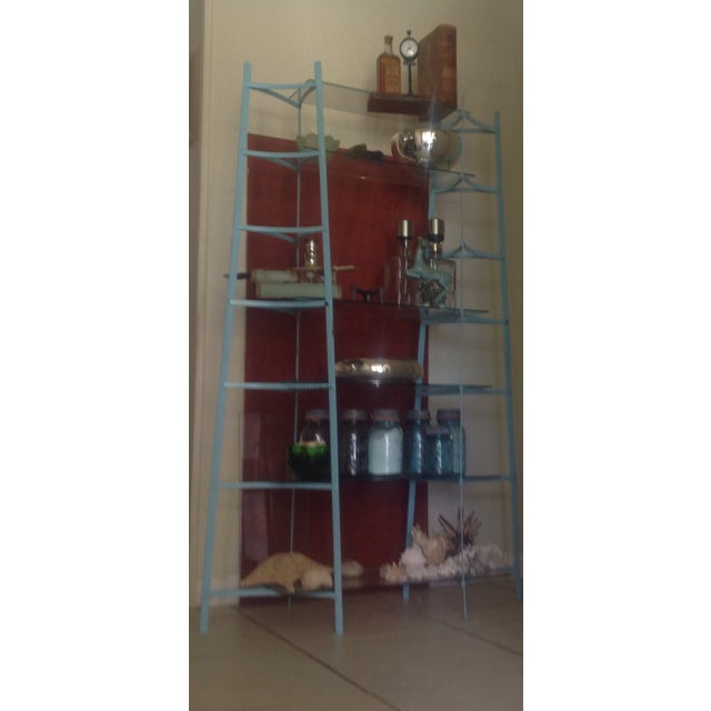 Mid-Century Industrial Metal Glass Shelving Unit - Image 5 of 10