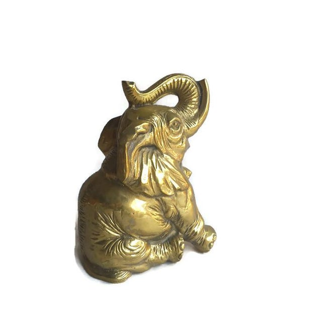 "Vintage Solid Brass Elephant ""Piggy Bank"" Statue - Image 4 of 6"