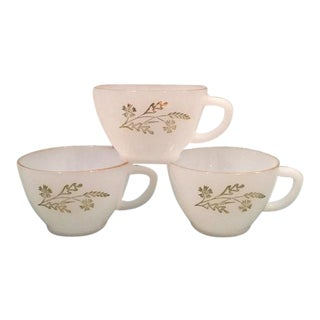 Federal Glass Meadow Gold Milk Glass Teacups - Set of 3