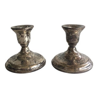 Distressed Sterling Candlesticks - Pair