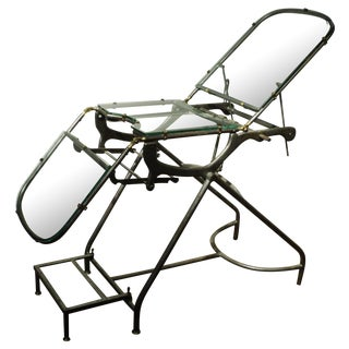 Antique Industrial Metal Glass Medical Chair Table