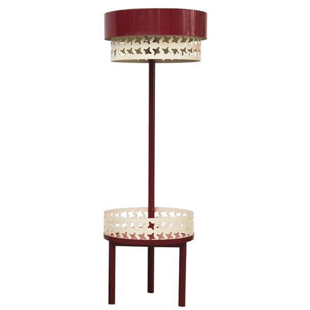 Pilastro Style Red Amp White Funky Table Lamp