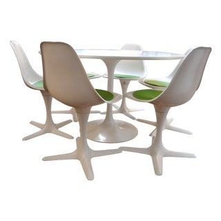 Mid-Century Tulip Table & 6 Chairs Set