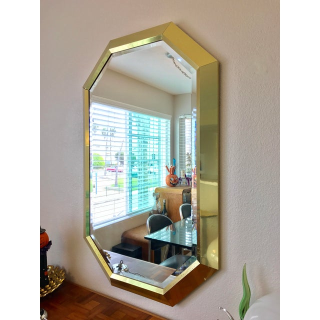 Springer Style Brass Beveled Glass Mirror - Image 3 of 9