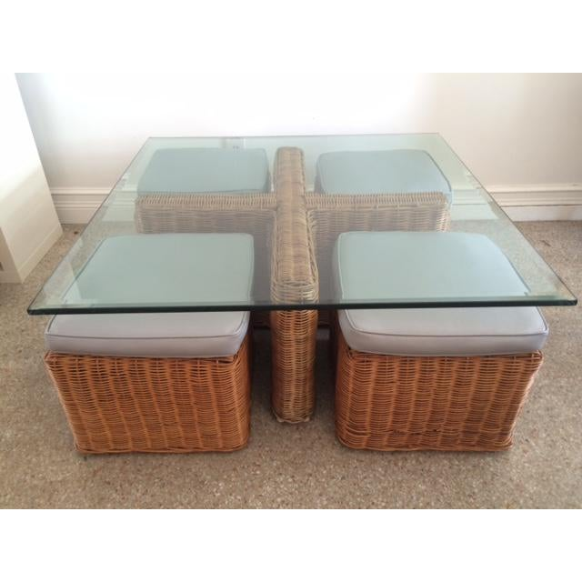 Round Wicker Coffee Table With Stools: Vintage McGuire Rattan Square Coffee Table & Stools