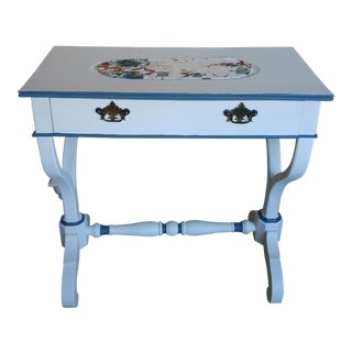 Vintage White & Blue Trim Console Table