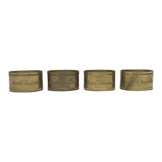"""Merry Christmas"" Engraved Brass Napkin Rings - Set of 4"
