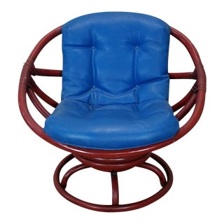 Vintage Ficks Reed Red Rattan Swivel Papasan Chair