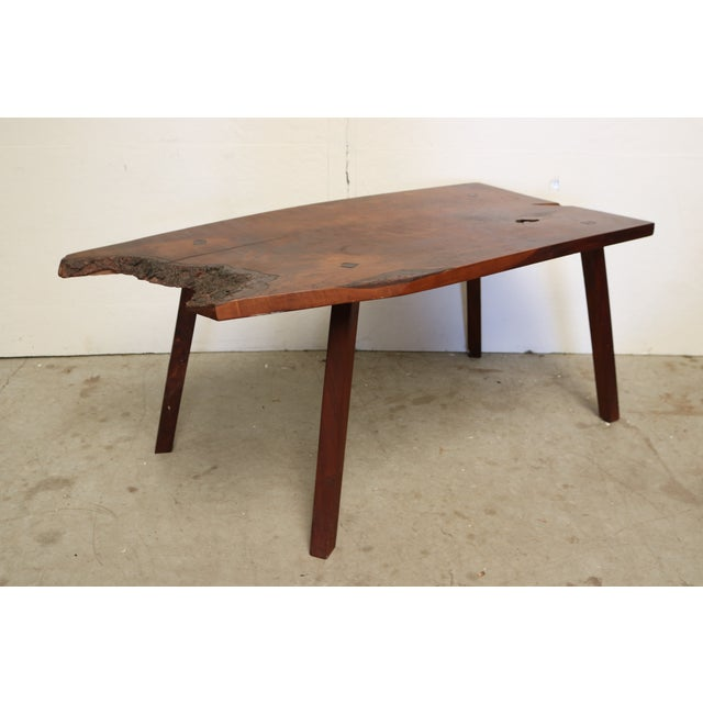 Inscribed Handmade Live Edge Coffee Table - Image 2 of 8