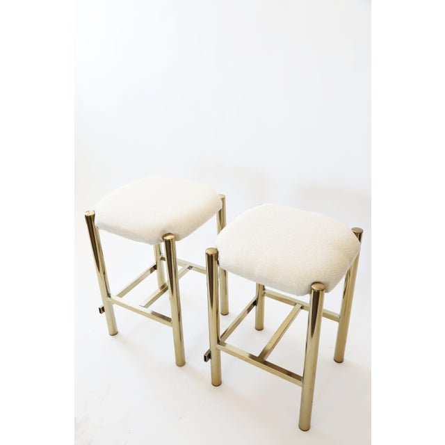 Image of Vintage Cal-Syle Brass Bar Stools - A Pair