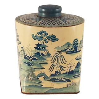 Blue Willow Tin Tea Canister