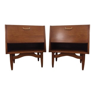 American of Martinsville Mid-Century Dania Collection Walnut Nightstands - A Pair