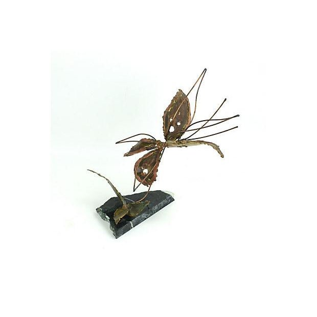 Copper Kinetic Butterfly Sculpture - Image 2 of 6