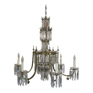 Pair Regency Brass and Crystal Chandeliers