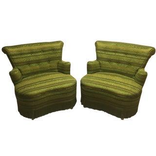 Mid-Century Modern Plaid Chairs - A Pair