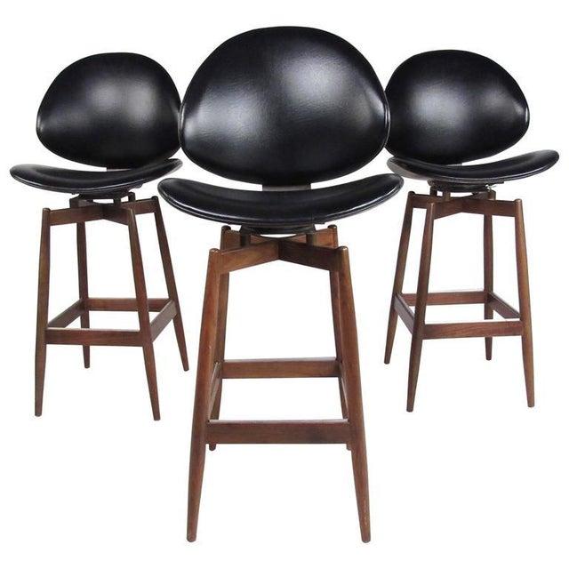 Mid-Century Modern Clamshell Bar Stools - Set of 3 - Image 6 of 11