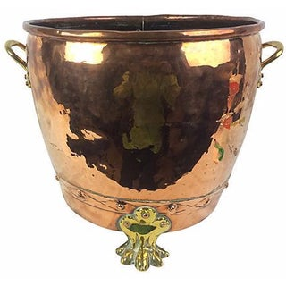 Large English Copper & Brass Planter