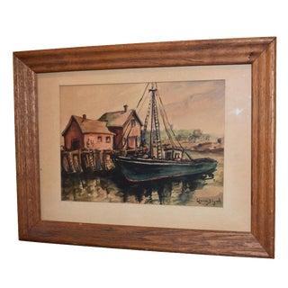 Lorena Lynch Mid-Century Sailboat Watercolor Painting
