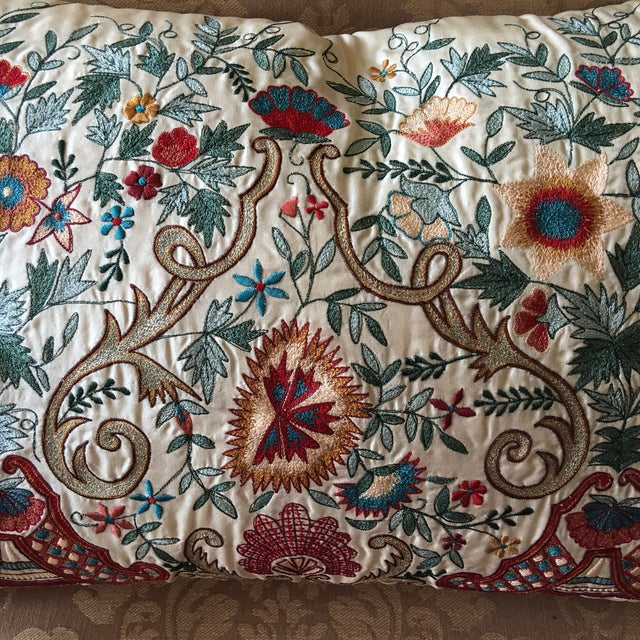Luxury Silk Embroidered Decorative Pillow - Image 4 of 8