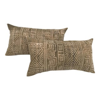 Mali Tribal Faded Mud Cloth Body Pillows - A Pair