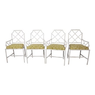 Metal Painted Faux Bamboo Chairs - Set of 4