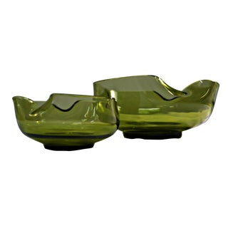 Green Glass Pinched Bowls- A Pair